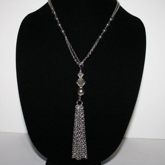 """Long silver tassel necklace 24"""""""